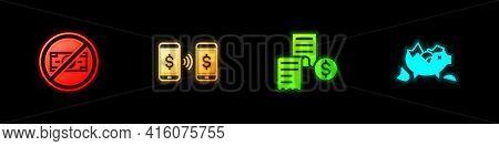 Set No Money, Money Payment Transfer, Paper Or Financial Check And Broken Piggy Bank Icon. Vector