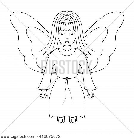 Angel. Sketch. Vector Illustration. Girl With Wings. The Fairy Lady Closed Her Eyes. The Little Sorc