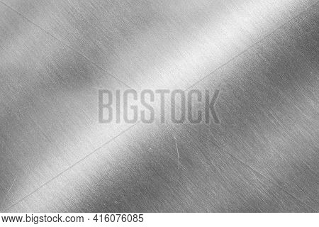 Close-up Empty Stainless Steel Plate With Detail And Texture Background, Copy Space For Put Text Cha