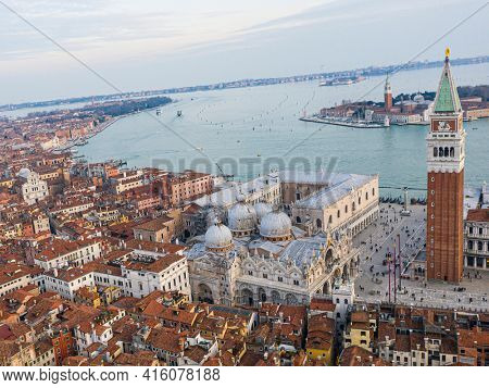Panoramic aerial view of Venice, San Marco Campanile and Basilica Santa Maria della Salute. Italy