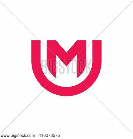 Elegant Letter Um Mu Logo Design, Simple Typography Symbol, Minimal Monogram Logo