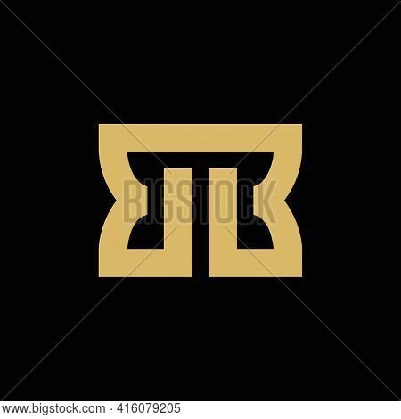 Bb Initial Letter Logo Template, Simple Monogram Logo Vector, Gold Color Isolated On Black Backgroun