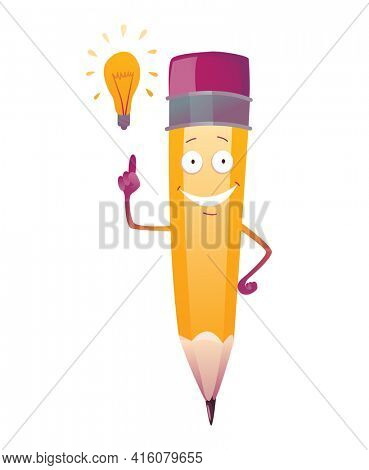 Pencil cartoon. Cute humanized pencil character with arms and face emoji illustration. New idea
