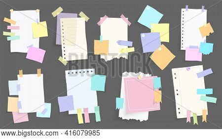 Paper notes stickers. Set of different  note papers. Blank of multicolor stickers. Sticky sheets of various colors and size  illustration