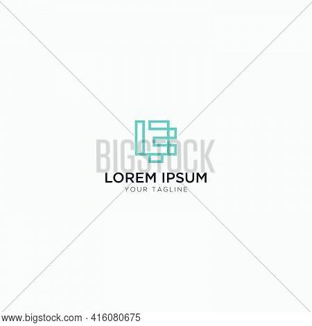 Abstract Line L E Logo Monogram Letter