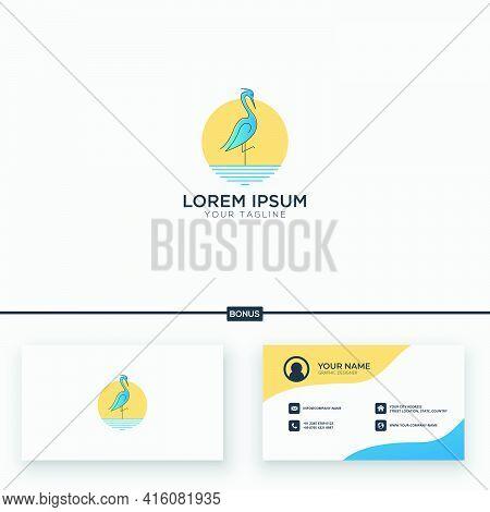 Stork Character Logo Mascot Stork And Wave Line