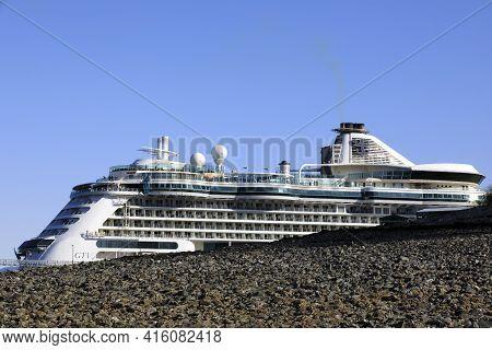 Strait Point, Alaska / Usa - August 13, 2019: Cruise Ship Near Strait Point, Strait Point, Alaska, U