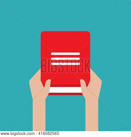 Hands Hold Red Open Book Isolated On Blue. Flat Reading Icon. Vector Illustration. Education, Study,
