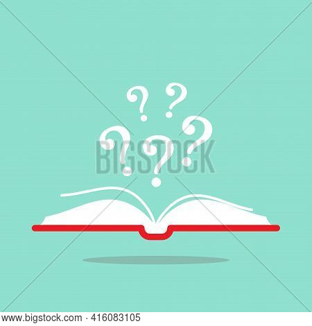 Open Book With Red Book Cover And White Question Marks Flying Out. Isolated On Turquoise Background.