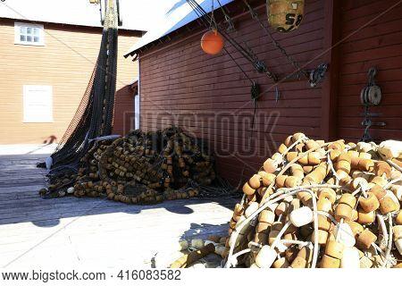 Strait Point, Alaska / Usa - August 13, 2019: Fisherman's Nets At Strait Point, Strait Point, Alaska
