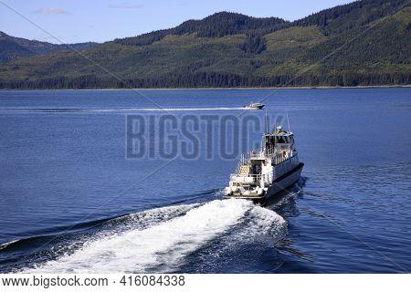 Strait Point, Alaska / Usa - August 13, 2019: Tourist Boat At Strait Point, Strait Point, Alaska, Us