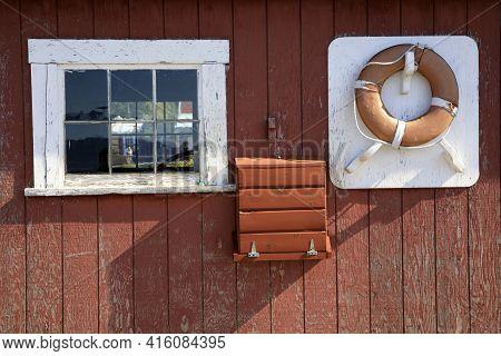 Strait Point, Alaska / Usa - August 13, 2019: Lifebelt At Strait Point, Strait Point, Alaska, Usa
