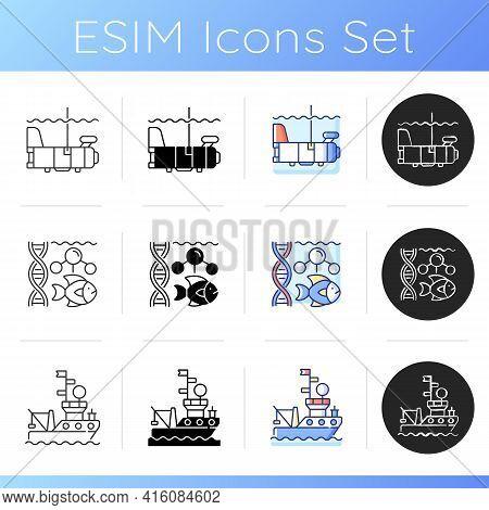 Marine Exploration Icons Set. Weather Buoy System. Plankton Net Equipment. Marine Magnetometer. Unde