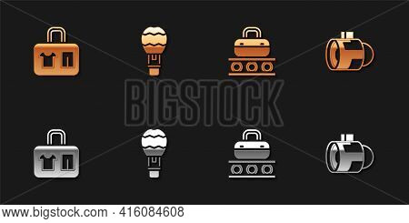 Set Suitcase, Hot Air Balloon, Conveyor Belt With Suitcase And Jet Engine Turbine Icon. Vector
