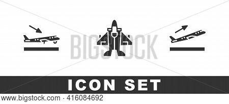 Set Plane Landing, Jet Fighter And Takeoff Icon. Vector