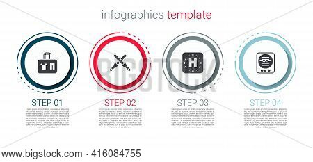Set Suitcase, Marshalling Wands, Helicopter Landing Pad And Attitude Indicator. Business Infographic