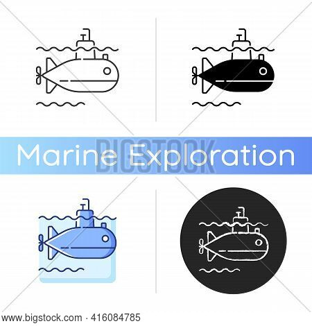 Submarine Icon. Watercraft Capable Of Independent Operation Underwater. Special Underwater Vehicle.
