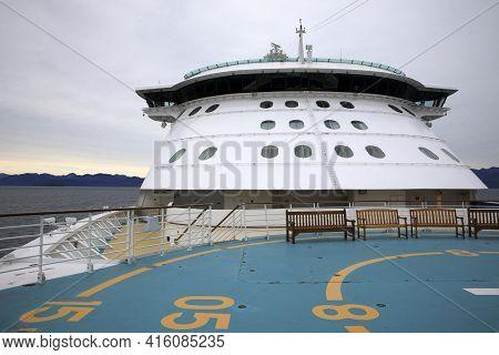 Alaska / Usa - August 15, 2019: Alaska Ship Control Cabin On Ship Cruise Boat, Alaska, Usa