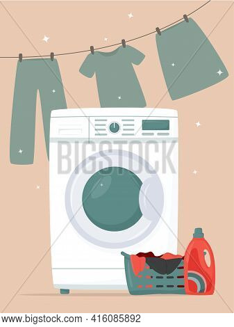 Washing Machine, Detergents, Laundry Basket And Drying Laundry In Flat Style. Modern Laundromat, Hom