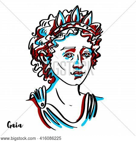 Gaia Engraved Vector Portrait With Ink Contours On White Background. In Greek Mythology, Gaia Is The
