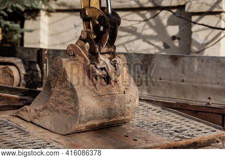 Excavator Bucket, Industrial Excavator Machine Outdoors. Tractor
