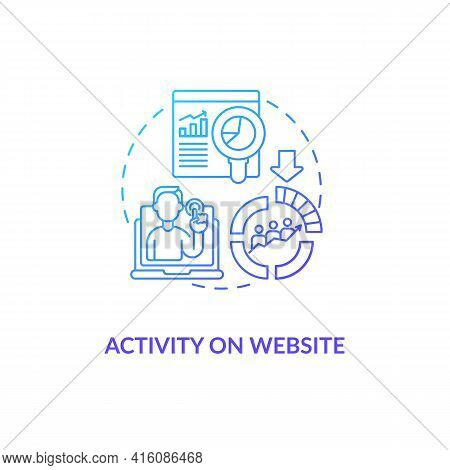 Activity On Website Blue Gradient Concept Icon. Internet Metrics For Business Consumers. Online Mark