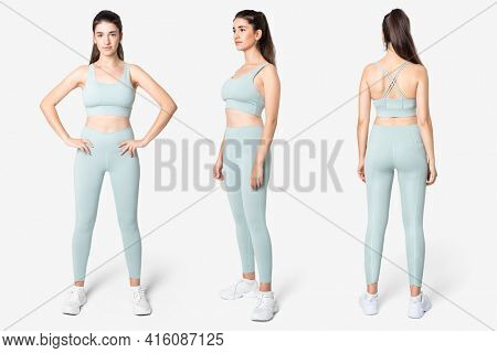 Woman in blue sports bra and leggings set
