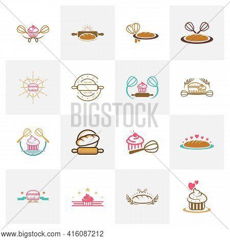 Set Of Bakery Logo Design Vector Illustration, Creative Bakery Logo Design Concept Template, Symbols