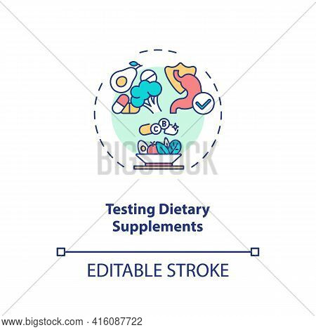 Testing Dietary Supplements Concept Icon. Clinical Trials Idea Thin Line Illustration. Identifying B