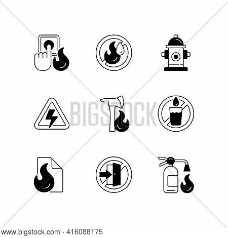 Fire Emergency Black Linear Icons Set. Alarm Button. High Voltage. Use No Water. Fire Blanket, Extin
