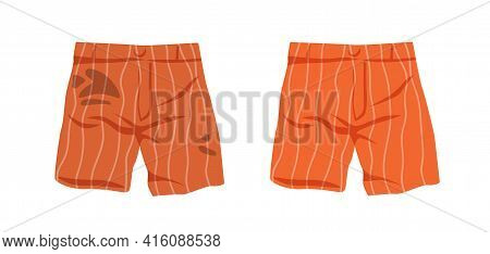 Dirty Untidy Shorts With Stains And Neat Clean Clothes Isolated On White Background. Fresh Tidy Unde