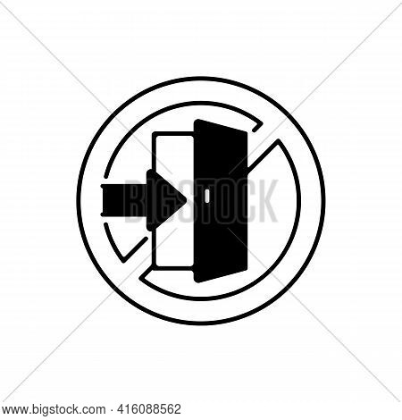 Do Not Enter Linear Icon. Forbidden Way, Restricted Path Through Door. Not Go To Doorway. Plan And I