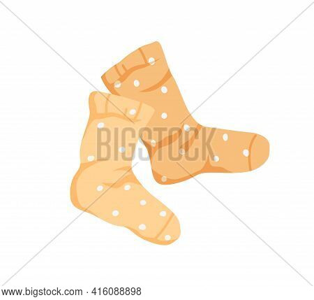 Pair Of Kids Wool Or Cotton Socks With Polka Dot Print. Warm Childish Foot Clothes With Pattern. Col