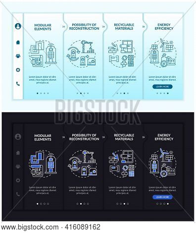 Future Worksite Building Onboarding Vector Template. Responsive Mobile Website With Icons. Web Page
