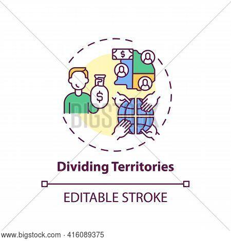 Dividing Territories Concept Icon. Anti-competitive Practices Idea Thin Line Illustration. Competiti