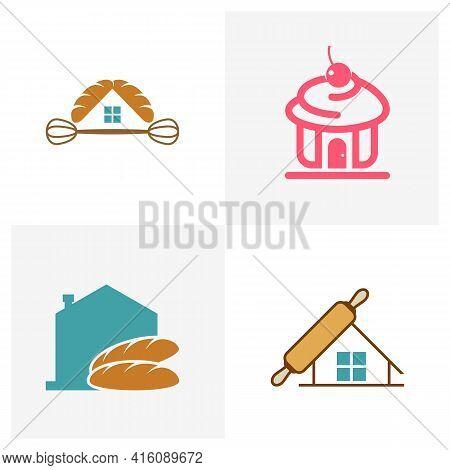 Set Of House Bakery Logo Design Vector Illustration, Creative Bakery Logo Design Concept Template, S