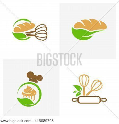 Set Of Leaf Bakery Logo Design Vector Illustration, Creative Bakery Logo Design Concept Template, Sy