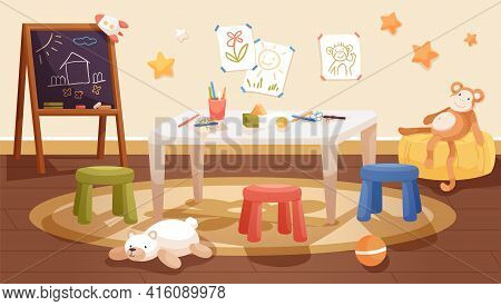 Kindergarten Interior Design With Table, Chairs And Chalkboard. Kids Room With Stationery, Toys And