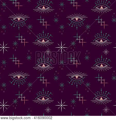 Abstract Illustration Of Night Sky, Cosmic Galaxy, Stars. Open Third Eye Of Soul. Seamless Vector Pa