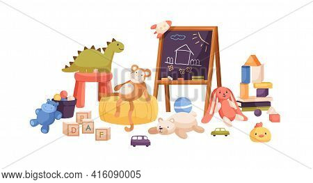Chalkboard With Childish Drawings, Kids Toys, Balls, Teddy Bear, Cars, Books, Cubes And Blocks For K