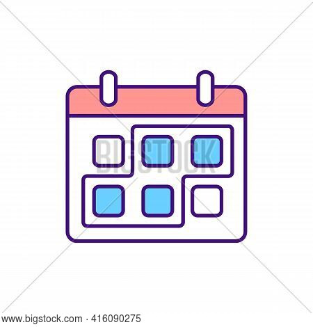 Period Marked On Calender Rgb Color Icon. Short Term Period. Month Planned For Project Work. Check B