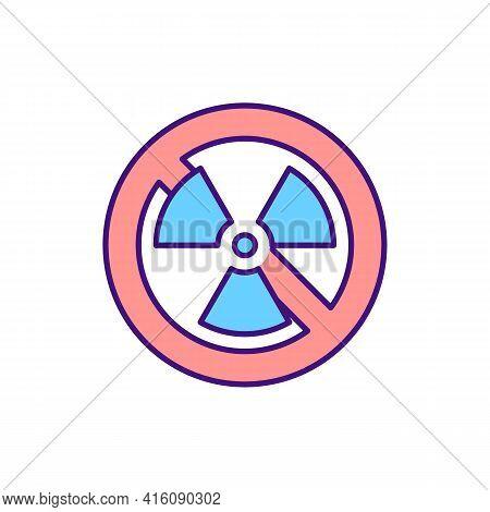 No Radiation Sign Rgb Color Icon. Prevent Harmful Work Conditions. Forbidden Zone, No Radioactivity.