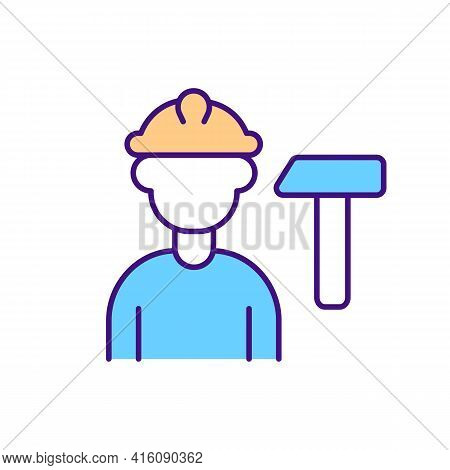 Construction Worker Rgb Color Icon. Manual Work. Professional Builder Services. Workman In Hardhet,