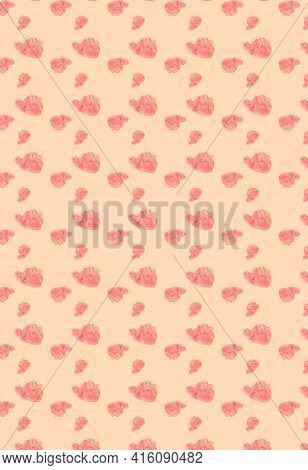 A Pattern Of Raw Turkey Fillet On A Colored Background. Prints, Templates.