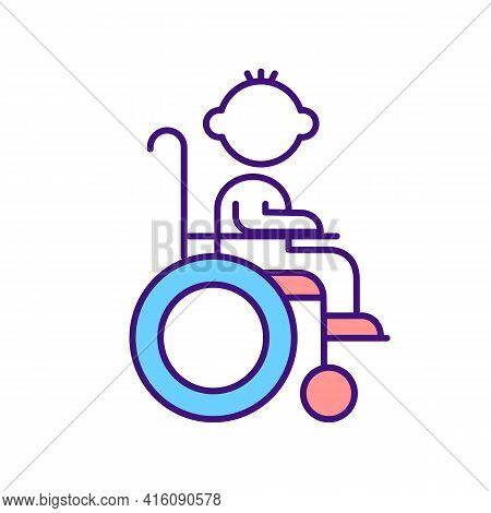 Disabled Child Rgb Color Icon. Kid In Wheelchair. Leg Trauma Rehabilitation. Healthcare And Assistan