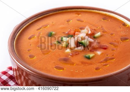 Gazpacho Soup In Crock Pot Isolated On White Background. Close Up