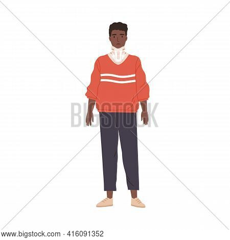 Young Sad Person Wearing Cervical Collar To Support His Injured Broken Neck After Fracture Or Injury