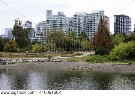 Vancouver, America - August 18, 2019: View From Stanley Park, Vancouver, America