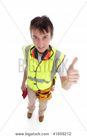 Positive Trainee Builder Laborer Thumbs Up