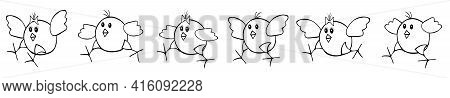 A Group Of Fan Outline Black Vector Easter Chickens Run After Each Other On A White Background. Bord
